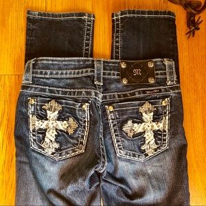 Miss Me Straight Long Jeans Cross Leather 25 x 33